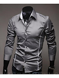 cheap -Men's Cotton / Polyester Slim Shirt - Solid Colored Classic Collar / Long Sleeve