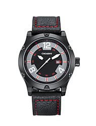 cheap -CAGARNY Men's Casual Watch / Sport Watch / Fashion Watch Japanese Calendar / date / day / Cool Leather Band Vintage / Casual Black / Red
