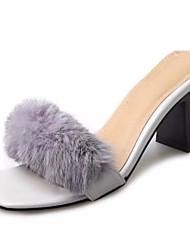 Недорогие -Для женщин Тапочки и Шлепанцы Удобная обувь Шерсть Лето Повседневный Для прогулок Комбинация материалов На плоской подошвеЧерный Бежевый