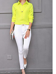 cheap -Women's Business Daily Casual Spring Shirt Pant Suits,Solid Shirt Collar Long Sleeve Fabric