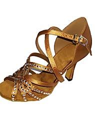 preiswerte -Damen Schuhe für den lateinamerikanischen Tanz Seide / Satin Sandalen / Absätze Innen Strass / Schnalle Stöckelabsatz Maßfertigung