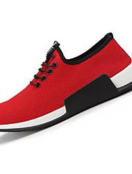 abordables -Hombre Zapatillas de Atletismo Confort PU Primavera Otoño Deportivo Paseo Confort Con Cordón Tacón Plano Negro Rojo Plano