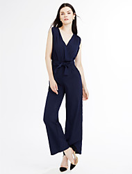 cheap -Women's Going out Street chic Jumpsuit - Solid Colored High Rise Wide Leg V Neck