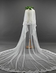 Wedding Veil Two-tier Blusher Veils Elbow Veils Cathedral Veils Lace Applique Edge Tulle Lace