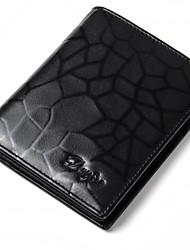 Men Wallet Genuine Leather Fashion Purse Male Real Cowhide Pattern Card Holder Trifold Short Money Bag Man Black Color