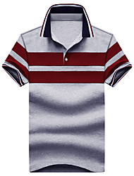 cheap -Men's Cotton Polo - Striped, Classic Shirt Collar