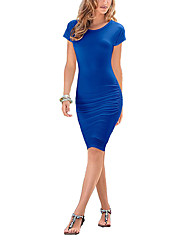 Women's Round Neck Club Solid Sexy Simple Knee-length Short Sleeve Bodycon Pencil Dress