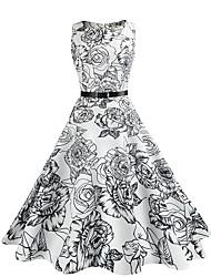 cheap -Women's Sheath Swing Dress - Floral, Vintage Style High Rise