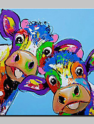 cheap -Oil Painting Hand Painted - Animals Abstract Modern / Contemporary Canvas