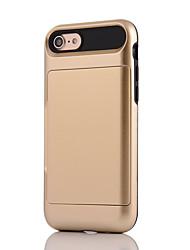 Per iPhone X iPhone 8 Custodie cover Porta-carte di credito Resistente agli urti Custodia posteriore Custodia Tinta unica Armatura