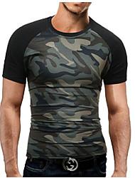 preiswerte -Herrn Einfarbig / camuflaje - Militär Alltag / Sport / Wochenende Übergrössen Baumwolle / Polyester T-shirt, Rundhalsausschnitt Schlank