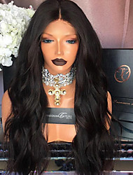 cheap -Remy Human Hair Lace Front Wig Natural Wave 180% Density 100% Hand Tied African American Wig Natural Hairline Short Medium Long Women's