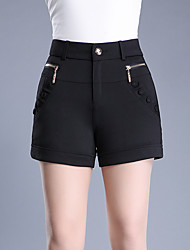Women's High Rise Micro-elastic Shorts Pants,Simple Slim Pure Color Sequins Beaded Solid