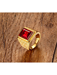 cheap -Men's Ring Synthetic Ruby Vintage Personalized Classic Synthetic Gemstones Titanium Steel Square Jewelry For Wedding Anniversary