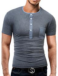 T-shirt Da uomo Quotidiano Casual Semplice Boho Estate,Tinta unita Tinta unica Con decorazione gioiello 90% maglia 10% seta Mulberry