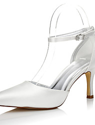 cheap -Women's Shoes Silk Fall / Winter Comfort Wedding Shoes Stiletto Heel Pointed Toe Buckle Ivory / Party & Evening