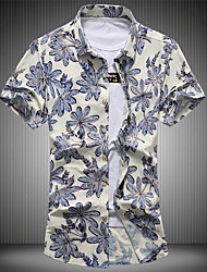 Men's Plus Size Going out Vintage Street chic Spring Summer Shirt,Floral Button Down Collar Short Sleeve Cotton Medium