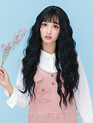 cheap -Cheap Women Synthetic Wigs Long Dark Chestnut Brown Grey Wavy Loose Wave Middle Part With Bangs Natural Lolita Wig
