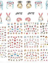 11Design/pcs New Fashion Lovely Cartoon Design Nail Art DIY Beauty 3D Sticker Cute Animal Rabbit Cat Creative Design Decoration E589-599