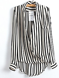 Women's Casual/Daily Work Holiday Simple Street chic Punk & Gothic Shirt,Striped Deep V Long Sleeve Polyester
