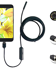 abordables -2in1 android&Pc 8.0mm lente hd endoscopio 2.0 mega píxeles 6 led ip67 impermeable inspección agujero 2m largo cable flexible