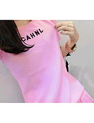 Women's Casual/Daily Active Spring Summer T-shirt,Letter Round Neck Short Sleeve Cotton Medium