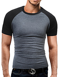 cheap -Men's Sports Club Work Casual Active Street chic Cotton Slim T-shirt - Color Block, Patchwork Round Neck Black & Gray