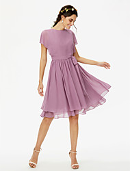 A-Line Jewel Neck Knee Length Chiffon Bridesmaid Dress with Bow(s) Sashes / Ribbons Pleats by LAN TING BRIDE®