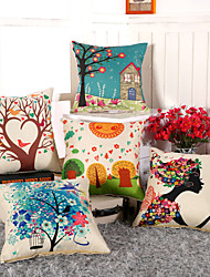 cheap -11 Style 3D Printing Flower Tree Pillow Covers Cotton/Linen Pillow Case