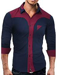 Men Business Daily Casual Simple Spring Fall Shirt,Color Block Shirt Collar Long Sleeve Polyester