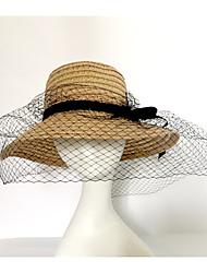 Недорогие -Жен. Для вечеринки На каждый день Мода Шляпа от солнца,Весна/осень Лето Солома Однотонный Хаки