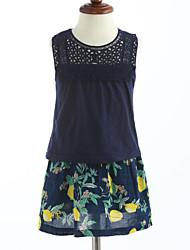cheap -Girls' Clothing Set, Cotton Summer Sleeveless Blue