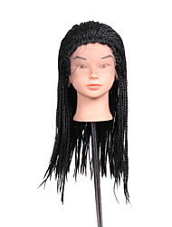 cheap -24inch Black braided wig lace frontal Micro synthetic box braids wigs heat resistant fiber long synthetic wigs