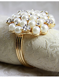 cheap -Pearl Crystal Best Quality Napkin Ring New Set Of 12 PCS Iron 1.77 Inch