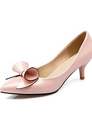 Damer Hæle Komfort laklæder Forår Efterår Kontor Fritid Rosette Lav hæl Hvid Sort Lys pink Bourgogne 5-7 cm