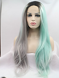 Sylvia Synthetic Lace front Wig Half Silver Grey Half Mint Green Hair Heat Resistant Long Straight Synthetic Wigs