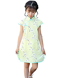 cheap -Girl's Floral Dress Spring Summer All Seasons Short Sleeve Floral Lace Blushing Pink Yellow