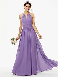 cheap -A-Line Jewel Neck Floor Length Chiffon Bridesmaid Dress with Buttons Sash / Ribbon Pleats by LAN TING BRIDE®