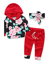 cheap -Girls' Floral Fashion Sports Clothing Set, Cotton Fall Long Sleeves Floral Dresswear Wine