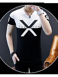 Herren Solide Buchstabe Einfach Sportlich Sonstiges Alltag Normal T-shirt,V-Ausschnitt Sommer Kurzarm Baumwolle Andere Dünn