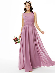 cheap -A-Line Jewel Neck Floor Length Chiffon Bridesmaid Dress with Sash / Ribbon Pleats Ruched by LAN TING BRIDE®