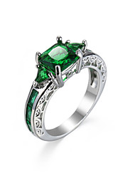 cheap -Women's Ring Synthetic Emerald Unique Design Fashion Euramerican Zircon Emerald Alloy Jewelry Jewelry For Wedding Special Occasion