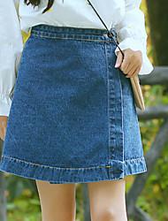 Feminino Vintage Moda de Rua Happy-Hour Casual Mini Saias,Evasê Cor Única Côr Pura Verão Outono