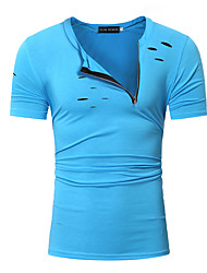 cheap -Men's Plus Size Cotton T-shirt - Solid Colored Fashion Round Neck