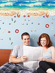 cheap -3D Ocean Sand Beach Shell Foot Print Wall Stickers Bathroom Living Room Floor Wall Applique Nursery Kids Room Wallpaper Poster