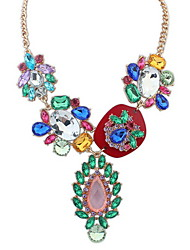 Mulheres Colares com Pendentes Colares Declaração Y-colares Multi-pedra Imitação de Diamante Forma Redonda Jóias AcrílicoBásico Original