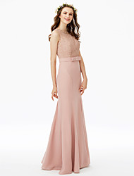 cheap -Sheath / Column Jewel Neck Floor Length Chiffon Corded Lace Bridesmaid Dress with Bow(s) Lace Sash / Ribbon by LAN TING BRIDE®