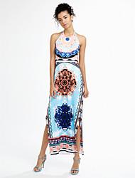 cheap -Women's Club Going out Boho Sheath Dress Backless Print Maxi Halter