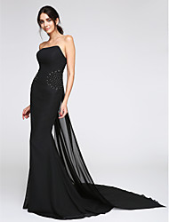 cheap -Mermaid / Trumpet Strapless Watteau Train Chiffon Cocktail Party / Formal Evening Dress with Beading by TS Couture®