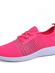 Недорогие -Для женщин Кеды Тюль Лето Осень Беговая обувь На плоской подошве Черный Серый Розовый На плоской подошве